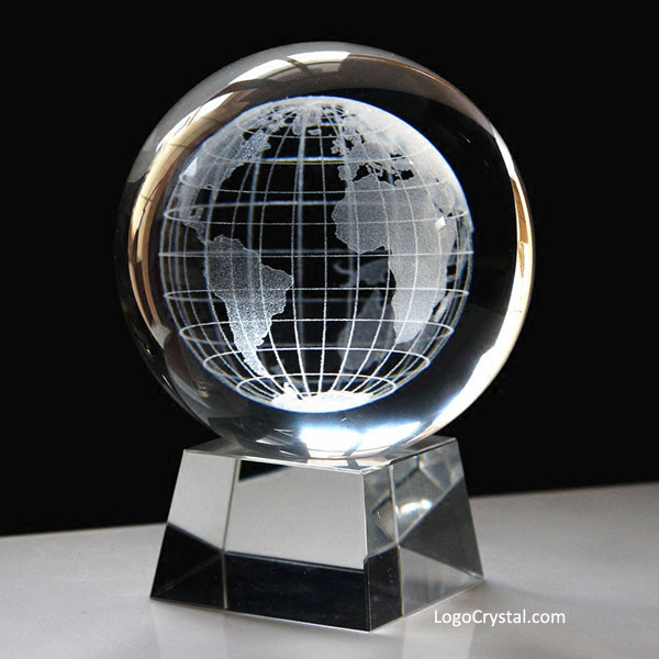 70mm 2 75 Quot Crystal Ball With 3d World Globe Laser Etched